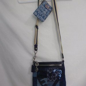 COACH POPPY, jean material purse & matching wallet